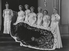 Queen Elizabeth, the Queen Mother at the coronation with her six maids of honour, by Hay Wrightson - NPG x32324