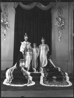 Princess Margaret; Queen Elizabeth, the Queen Mother; King George VI; Queen Elizabeth II, by Hay Wrightson - NPG x32327