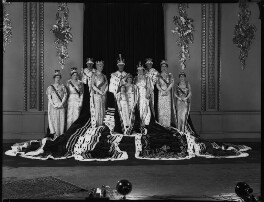Group photograph taken at the coronation of King George VI including Queen Elizabeth II, Duke and Duchess of Gloucester and the Queen Mother., by Hay Wrightson - NPG x32331