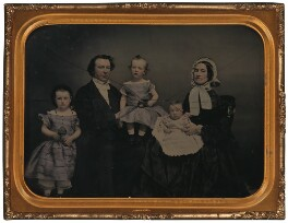 Agnes King (née Bright); Sir Charles Tilston Bright; Sir Charles Bright; Hannah Barrick Bright (née Taylor) and an unknown sitter, possibly Mary Angela Jardine (née Bright) or (Annie) Beatrice Bright, by Unknown photographer - NPG x32702