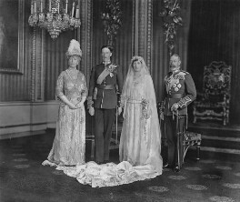 Queen Mary; Henry George Charles Lascelles, 6th Earl of Harewood; Princess Mary, Countess of Harewood; King George V, by Vandyk, 28 February 1922 - NPG x34568 - © National Portrait Gallery, London