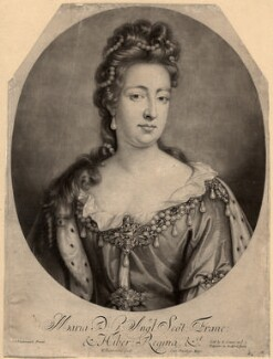 Queen Mary II, by William Faithorne Jr, sold by  Edward Cooper, after  Jan van der Vaart - NPG D10663