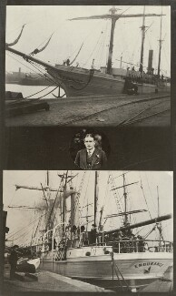 Sir Ernest Henry Shackleton with two views of the Endurance, by Unknown photographer, 1914 - NPG x36034 - © National Portrait Gallery, London