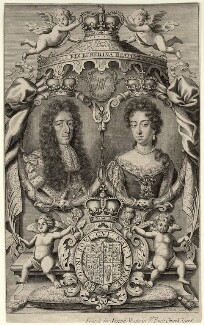 King William III; Queen Mary II, by Robert White, printed for  Joseph Watts - NPG D10674