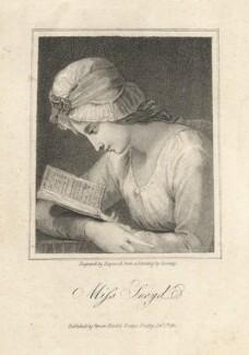 Serena Reading (possibly Charlotte Sargent (née Bettesworth); formerly called Honora Edgeworth (née Sneyd)), by James Hopwood Sr, published by  Vernor, Hood & Sharpe, after  George Romney - NPG D10675
