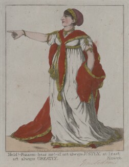 Sarah Siddons (née Kemble) ('Hold! - Pizarro - hear me! - if not always justly, at least act always greatly'), by and published by Robert Dighton - NPG D10687