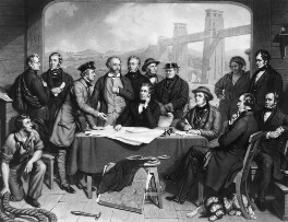 Conference of Engineers at the Menai Straits Preparatory to Floating one of the Tubes of the Britannia Bridge, by James Scott, published by  Henry Graves & Co, after  John Lucas - NPG D10713