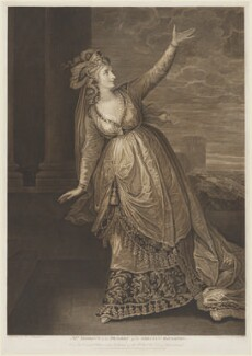 Sarah Siddons (née Kemble) ('Mrs Siddons in the Tragedy of the Grecian Daughter'), by James Caldwall, after  William Hamilton - NPG D10715
