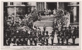 'The Funeral Procession of the Late King Edward VII. The Archbishops Receiving the Coffin at St George's Chapel, Windsor.', published by Rotary Photographic Co Ltd - NPG x38523