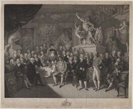 Royal Academicians, by Charles Bestland, after  Henry Singleton - NPG D10716