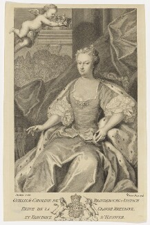 Caroline Wilhelmina of Brandenburg-Ansbach, by George Vertue, after  Jacopo Amigoni - NPG D10770