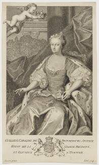 Caroline Wilhelmina of Brandenburg-Ansbach, by George Vertue, after  Jacopo Amigoni, 1736 (1735) - NPG D10771 - © National Portrait Gallery, London