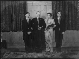 Margaret Elizabeth (née Robertson), Lady Silsoe; Malcolm Trustram Eve, 1st Baron Silsoe; David Silsoe; Hon. Peter Nanton Trustram Eve, by Bassano Ltd - NPG x43055
