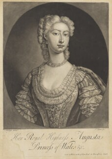 Augusta of Saxe-Gotha, Princess of Wales, by John Faber Jr, after  Charles Philips, mid 18th century - NPG D10778 - © National Portrait Gallery, London