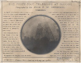 'The Forty-Foot Telescope at Slough', by Sir John Frederick William Herschel, 1st Bt, 1839, printed later - NPG x44706 - © National Portrait Gallery, London