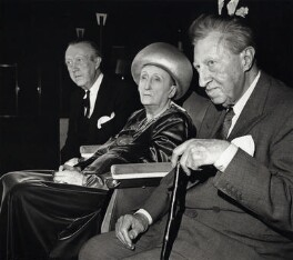 Sir Sacheverell Sitwell, 6th Bt; Sir Osbert Sitwell; Edith Sitwell, by Unknown photographer, 9 October 1962 - NPG x45791 - © reserved; collection National Portrait Gallery, London