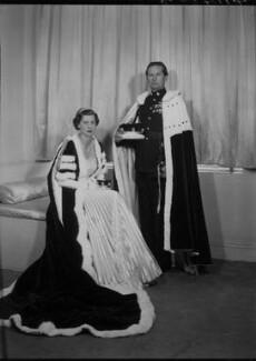 Mary Edmunds (née Marshall), Lady Chesham; John Charles Compton Cavendish, 5th Baron Chesham, by Lenare - NPG x4587