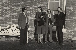 Arthur Jeffress; Audrey Grace Denison (née Bowles) with her dog; Michael Sherard (Malcolm Henry Sherrard); Budge Fraser, by Sandy Baird - NPG x47330