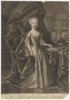 Louisa, Queen of Denmark, by Gerhard Bockman, after  James Worsdale - NPG D10795