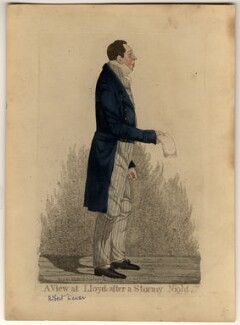 Robert Dewar ('A view at Lloyds after a stormy night'), by and published by Richard Dighton, reissued by  Thomas McLean - NPG D10812