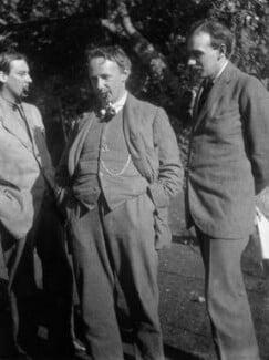 Oliver Strachey; G.E. Moore; John Maynard Keynes, Baron Keynes, by Rachel Pearsall Conn ('Ray') Strachey (née Costelloe), 1914 - NPG x88548 - © National Portrait Gallery, London