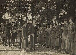 Winston Churchill reviewing the Queen Mary's Army Auxiliary Corps, by Unknown photographer, August 1919 - NPG x6119 - © National Portrait Gallery, London