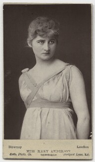 Mary Anderson (Mrs de Navarro) as Galatea in 'Pygmalion and Galatea', by W. & D. Downey, circa 1884 - NPG x68 - © National Portrait Gallery, London
