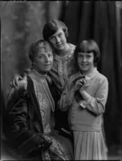 Ethel Clara (née Haszard), Lady Parr with her daughters, Marie Elizabeth Betty Seifert (née Parr) and Christine Ethel Hornby (née Parr), by Lafayette - NPG x69140