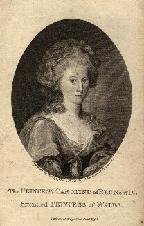 Caroline Amelia Elizabeth of Brunswick, by James Tookey, probably after  Friedrich Schroeder - NPG D10849