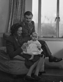 (Una Sheila) Colleen Nye (née Knox) and Sir Archibald Edward Nye with their daughter, Harriet Mary Sheila Newton-Clare (née Nye), by Bassano Ltd - NPG x73191