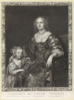 Margaret Montagu (née Russell), Countess of Manchester with an unknown daughter, by and published by Pierre Lombart, after  Sir Anthony van Dyck - NPG D10887