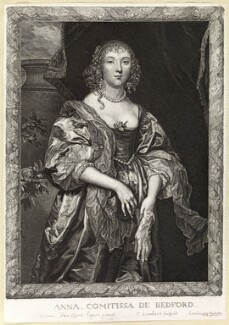 Anne Russell (née Carr), Countess of Bedford, by Pierre Lombart, after  Sir Anthony van Dyck - NPG D10894