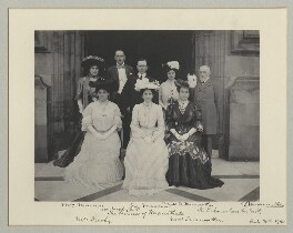 Group photo at Houses of Parliament including Mr and Mrs Marconi, Sir and Lady Jacoby and Maharani of Kapurthala., by Benjamin Stone - NPG x75719