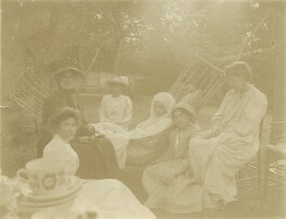 Group including Jane Morris (née Burden), May Morris and Jane Alice ('Jenny') Morris, by Unknown photographer, 1905 - NPG x76490 - © National Portrait Gallery, London
