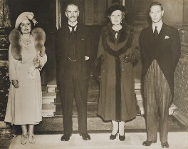 King George VI; Neville Chamberlain; Annie Vere Chamberlain (née Cole); Queen Elizabeth, the Queen Mother, by Unknown photographer - NPG x76560