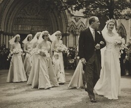 Viscount and Viscountess Cowdray with their bridesmaids and page boy, by Unknown photographer - NPG x76569