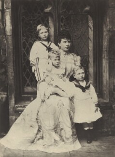 'The Duchess of York with Princes Edward and Albert and Princess Mary' (Prince Edward, Duke of Windsor (King Edward VIII); Princess Mary, Countess of Harewood; Queen Mary; King George VI), by Alice Hughes - NPG x76713