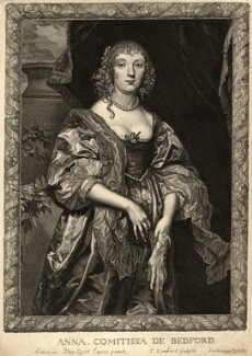 Anne Russell (née Carr), Countess of Bedford, by Pierre Lombart, after  Sir Anthony van Dyck - NPG D10904