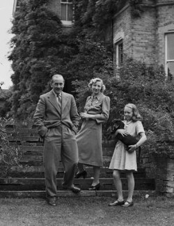 Miriam Edna (née Ludford), Lady Stapleton; Miles Talbot, 9th Baron Stapledon; Susan Penelope Fulford-Dobson (née Stapleton), by Bassano Ltd, 2 September 1948 - NPG x78442 - © National Portrait Gallery, London