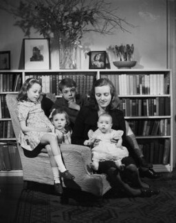 Hon. Myfanwy Ann Philipps with mother Doreen (née Guiness), Viscountess St. Davids; brother Colwyn Jestyn John, 3rd Viscount St Davids; and sisters Rowena Frances and Hon. Rhiannon Elisabeth, by Bassano Ltd - NPG x79728