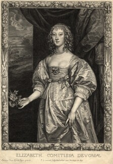 Elizabeth Cavendish (née Cecil), Countess of Devonshire, by Pierre Lombart, after  Sir Anthony van Dyck - NPG D10939