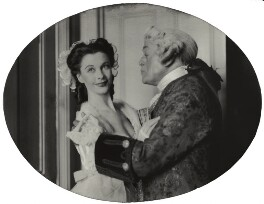 Vivien Leigh as Lady Teazle and Cyril Francis Maude as Sir Peter in 'The School for Scandal', by Lenare - NPG x902