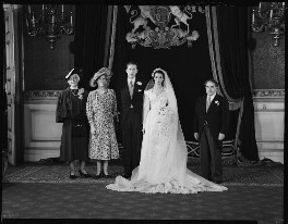 Sophie Stein (née Bachmann); Princess Mary, Countess of Harewood; George Lascelles, 7th Earl of Harewood; Marion Stein; Erwin Stein, by Navana Vandyk, 28 September 1949 - NPG x97318 - © National Portrait Gallery, London
