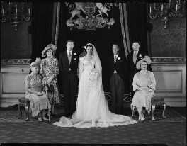 George Lascelles, 7th Earl of Harewood with his wife, Marion, Mary, Princess Royal, King George VI, Hon. Gerard Lascelles and Queen Elizabeth, the Queen Mother, by Navana Vandyk - NPG x97322