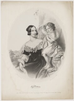 Mary Georgiana Emma Dawson Damer (née Seymour); Lionel Seymour William Dawson-Damer, 4th Earl of Portarlington, by Thomas Francis Dicksee, published by  Henry Graves & Co, after  John Lucas - NPG D34837