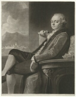 Thomas Robinson, 2nd Baron Grantham, by William Dickinson, after  George Romney - NPG D34789