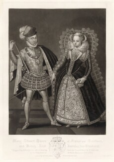 Henry Stuart, Lord Darnley; Mary, Queen of Scots, by Robert Dunkarton, published by  Samuel Woodburn, after  Renold or Reginold Elstrack (Elstracke) - NPG D34876