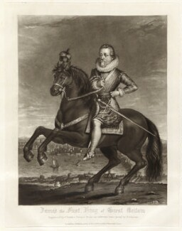 King James I of England and VI of Scotland, by Charles Turner, published by  Samuel Woodburn, after  Francis Delaram - NPG D34877
