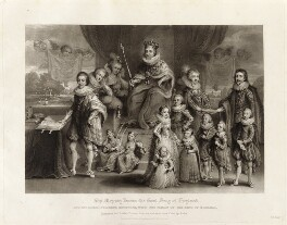'James I and his royal progeny', by Charles Turner, published by  Samuel Woodburn, after  Willem de Passe - NPG D34878