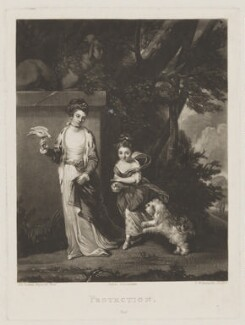 Protection (Amabel Hume-Campbell (née Lady Amabel Yorke), Countess de Grey; Mary Jemima Robinson (née Yorke), Lady Grantham), by Samuel William Reynolds, after  Sir Joshua Reynolds - NPG D34851